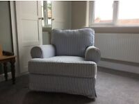 Arm chair single seater sofa white and blue stripped