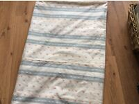 Lovely ditsy floral single bed cover / throw reversible grey stripe heavy cotton