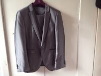 Mens 3 piece shinny grey suit from Next