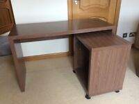 Next Darkwood Desk, matching shelf unit and Black Leather office chair