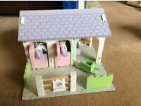 Wooden toy horse stables