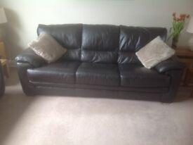 2 x Reid Furniture brown leather 3 seater sofas