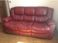 Red leather 3 seater sofa beautiful condition like new get yourself a bargain