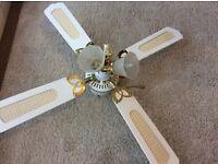 """*Ceiling Fan* 42"""" White & Brass Ceiling Fan + Integral Light"""