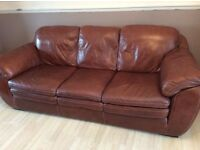 Extra large 3 and 2 seater tan leather sofa