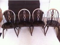 Four vintage Ercol, , dining chairs, circa late 50's early 60's, Fleur de Lys Design