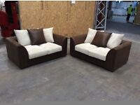2 X Byron Cord 2 Seater Sofa in mink & brown -new £299 inc free local delivery