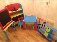 Nursery furniture set - table, 2 x chairs, book shelve, black/magnetic white board and wall shelf