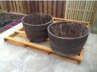 3 whiskey barrel planters