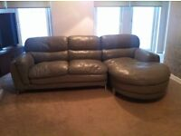 Grey leather corner sofa, dining table & 6chairs, 2 x small double white faux leather bedframes