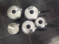 Prestige Copper Bottom Stainless Steel Set Of Five Saucepans