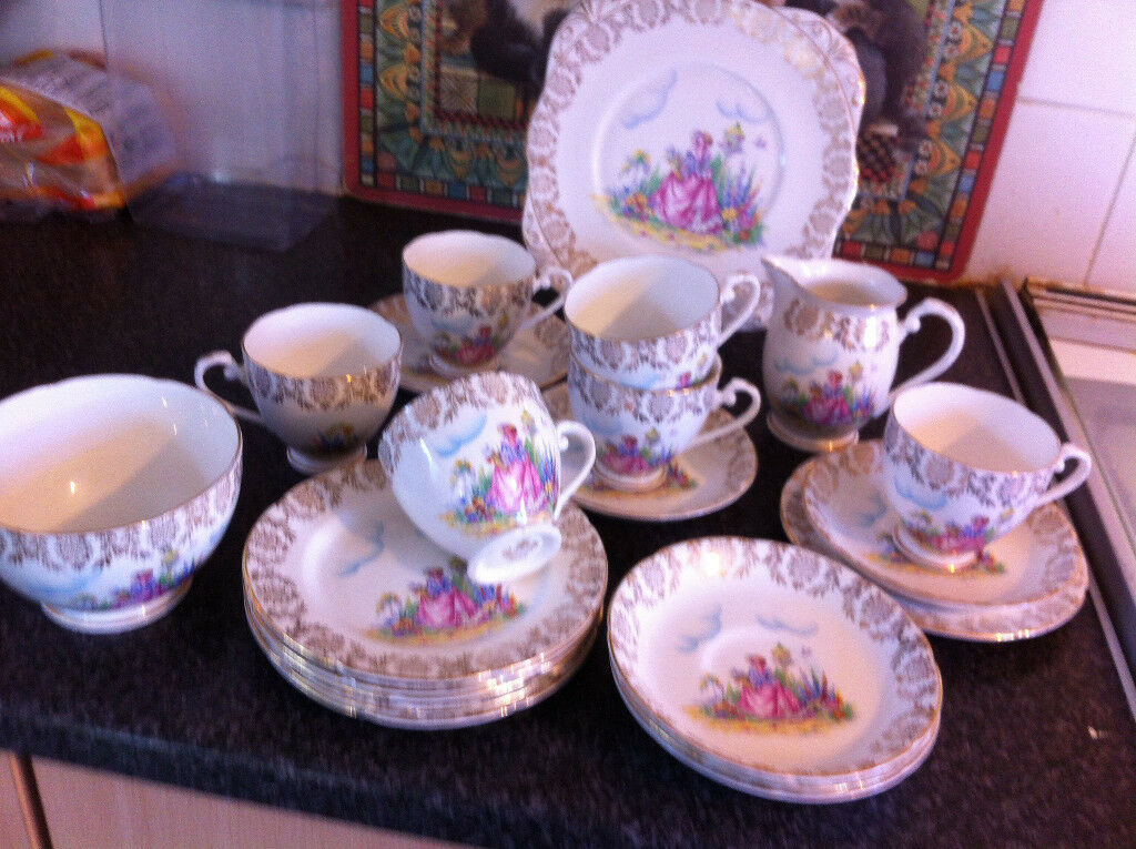 VINTAGE ENGLISH BONE CHINA TEA SET CRINOLINE LADY.