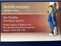 Home repair specialist, Window repairs and replacement, broken glass replacement, porches & cons
