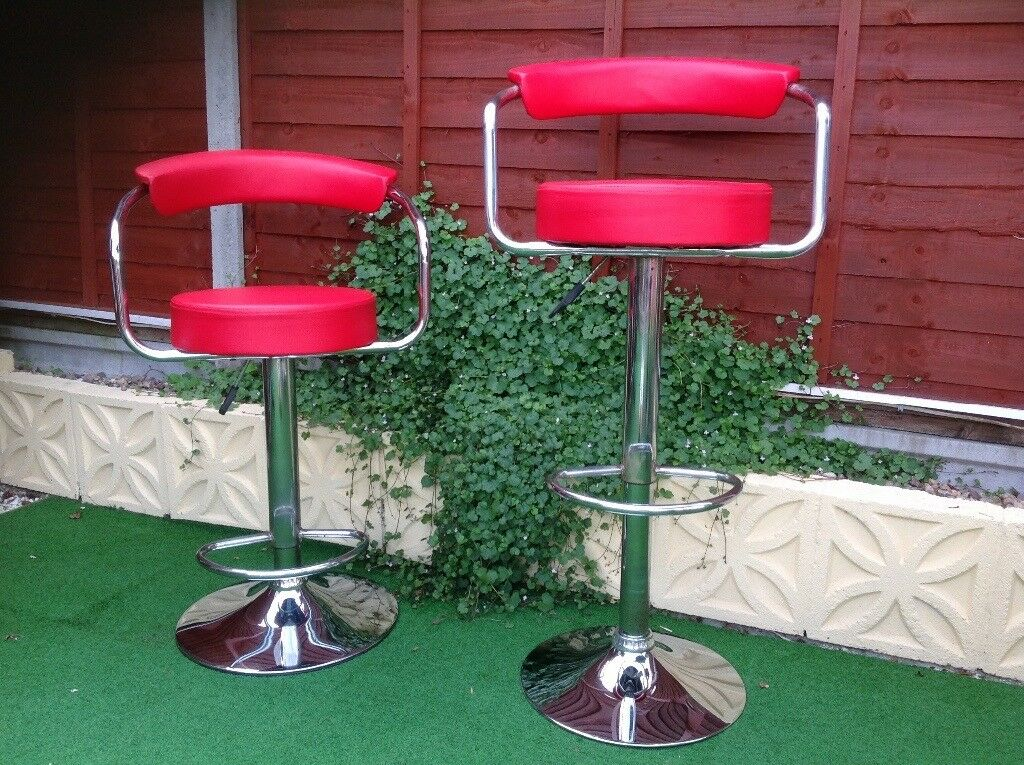 Bar Stools In Faux Leather Flame Red Chrome Bases