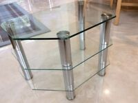 Crome and glass television table