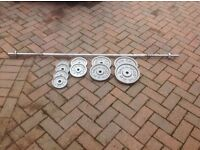 Golds Gym Weight bar and Weights made of Cast Iron