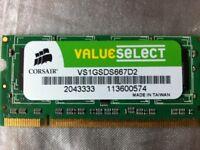 2GB (2x1gb) CORSAIR MACKBOOK RAM MEMORY mac a1181