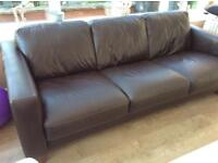 1 x 3 seater brown leather sofa and 1 x 2 seater brown leather sofa
