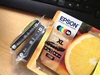 Epson 33XL ink cartridges, 2 black, 1 photo black, 1 compatible black