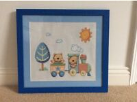 Embroidered and framed tapestry ideal for baby/child's room