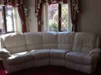 DFS cream leather corner sofa recliner
