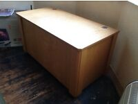 Pine Blanket box - 94cm L / 53cm W / 58cm H - on castors, solid + heavy - made by a local carpenter