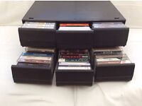Job Lot - Two music cassette tape cabinets with over 70 cassette tapes