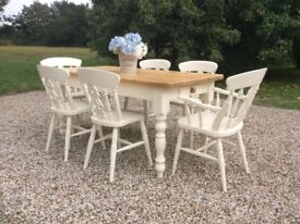 Shabby Chic French Farmhouse Dining Table and 6 Chairs