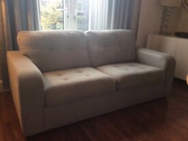 3 seater duck egg blue fabric sofa