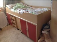 Mid sleeper cabin bed with matress, pull out desk and storage