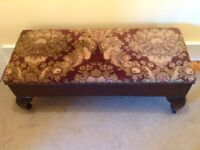 Antique double width footstool with hinged lid revealing storage below