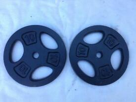 2 x 10kg Tri-Grip Standard Cast Iron Weights