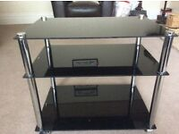 Black glass 3 tier TV Stand 60cm x 40 cm. 52cm high