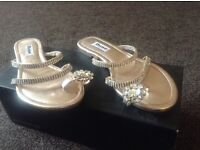 Diamanté sandals in gold size 3