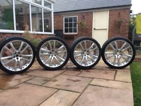 Set of 4 x 20 inch Jaguar XK Senta Alloys and tyres, excellent all round condition with good tyres