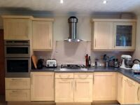 USED STRETTON MAPLE [FOIL] FINISH SHAKER KITCHEN UNITS DIFFERENT SIZES TWO WITH GLASS FRONTS
