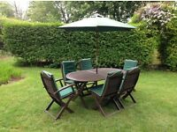 Garden set table six 6 chairs showerproof seat cushion brolley plus stand