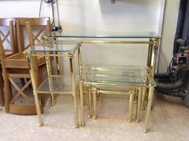 Gold & Glass Coffee Table, Nest of Tables, Telephone Table & Hall Table