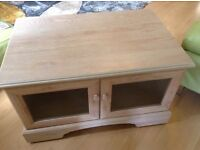 Priced for quick sale Lovely light wood tv cabinet and matching glass top table