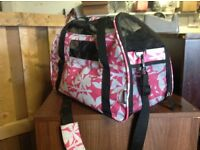 Pink and black pet carrier , dog , cat , kitten , rabbit etc