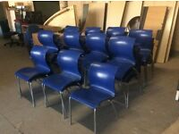Ten Blue Shaped plastic stacking chair