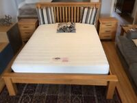 King size quality solid oak bed with mem'foam mattress + matching side tables immac condition
