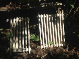 two cast iron radiators retro (1950s) need cleaning and repainting