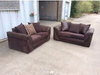 2 X Grace Cord 2 Seater Sofa in brown Ex-Display £299 inc free local delivery