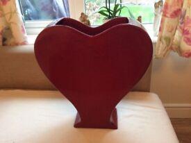 Large Red Heart Vase