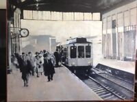 2 Large Train Paintings in Oil