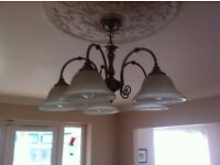 Light fitting metal with five bulbs with glass shades high quality fitting