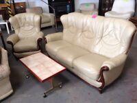 Italian leather sofa and 1 chair