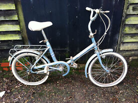 Vintage ladies folding bicycle by Hercules, this is a barn find project