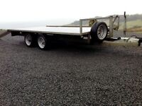 Flat bed trailer/ Car transporter, c/w ramps, winch mount, 2500kg capacity
